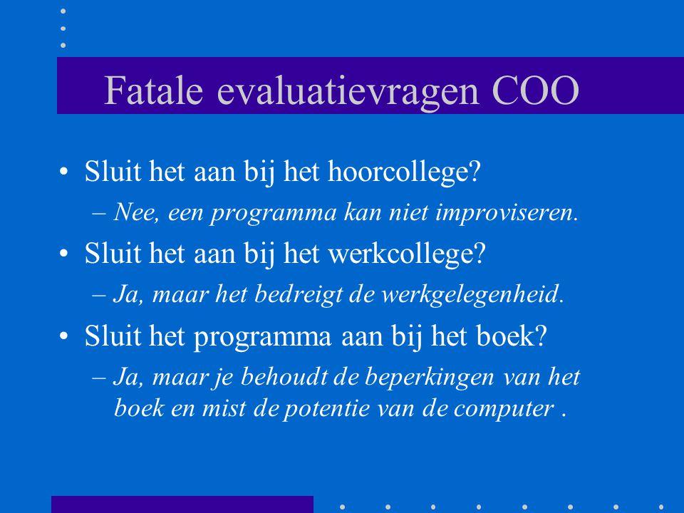 Fatale evaluatievragen COO