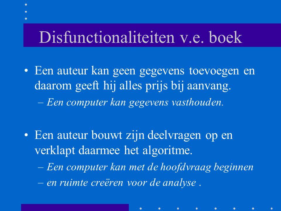 Disfunctionaliteiten v.e. boek