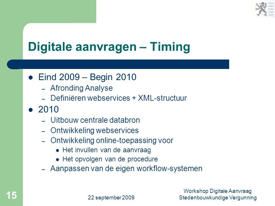 Digitale aanvragen – Timing