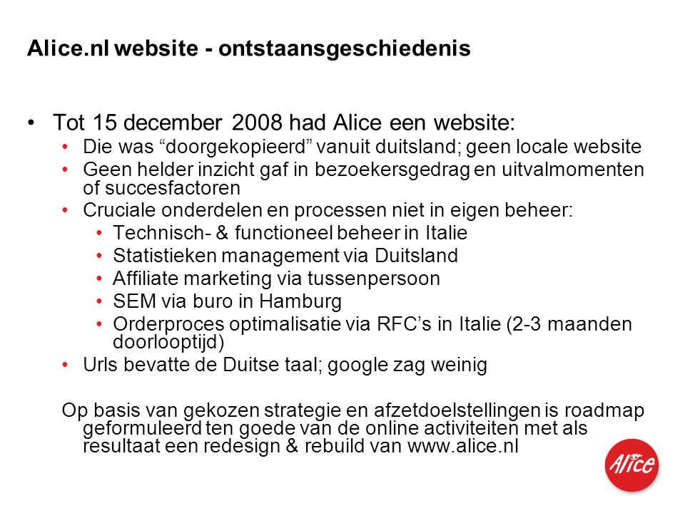 Alice.nl website - ontstaansgeschiedenis