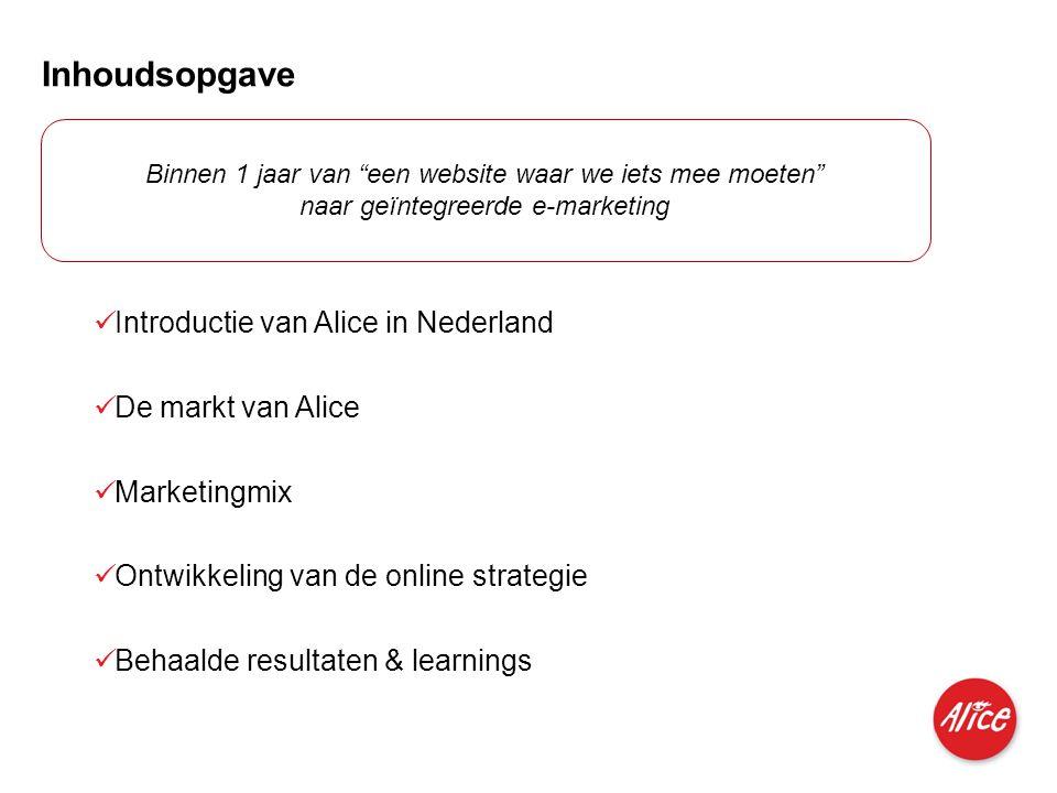 Inhoudsopgave Introductie van Alice in Nederland De markt van Alice