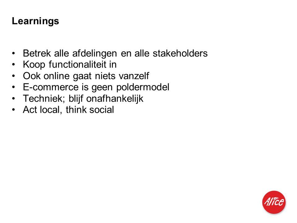 Learnings Betrek alle afdelingen en alle stakeholders. Koop functionaliteit in. Ook online gaat niets vanzelf.