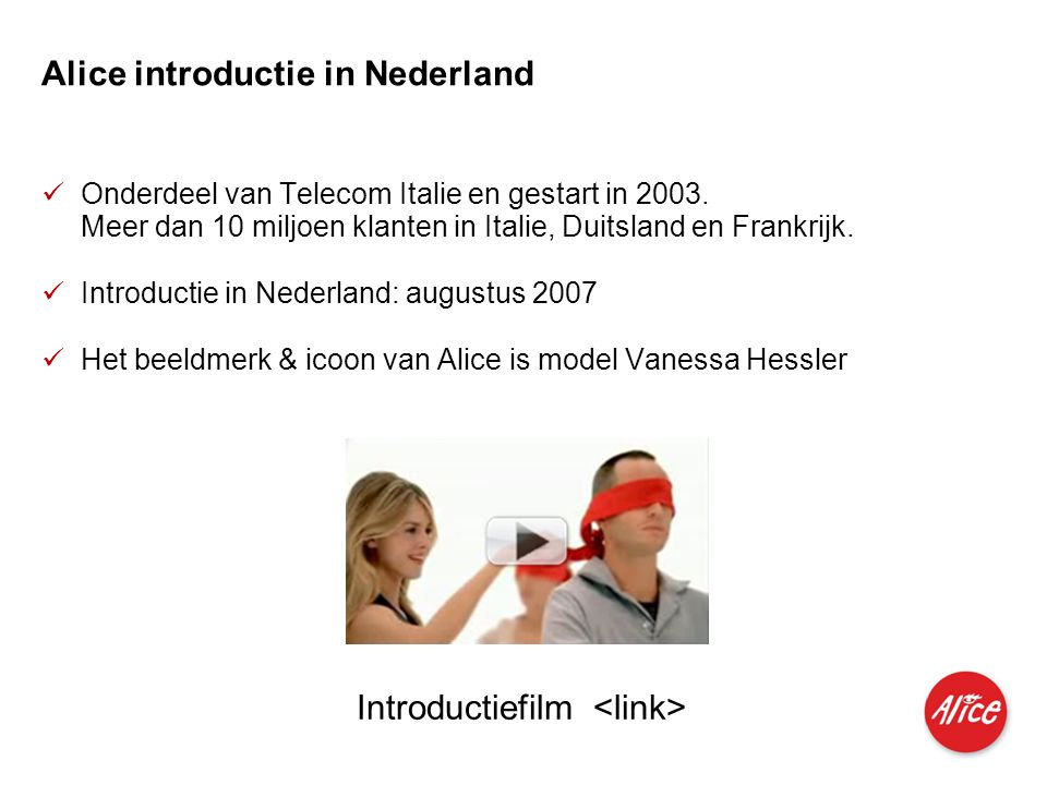 Alice introductie in Nederland