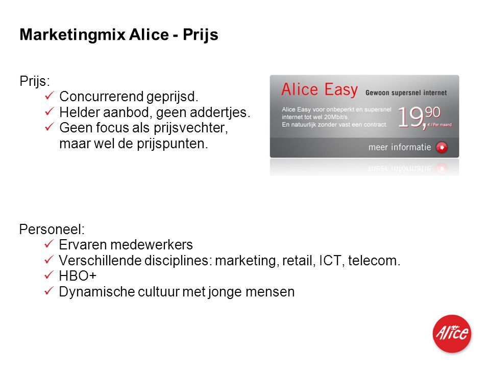 Marketingmix Alice - Prijs