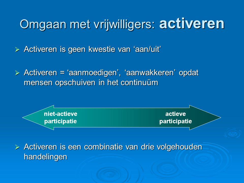 Omgaan met vrijwilligers: activeren