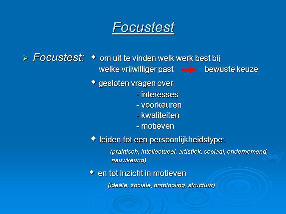 Focustest Focustest:  om uit te vinden welk werk best bij