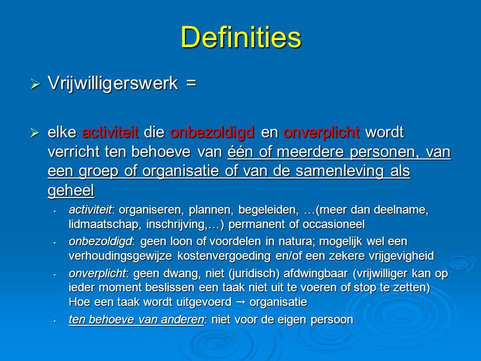Definities Vrijwilligerswerk =