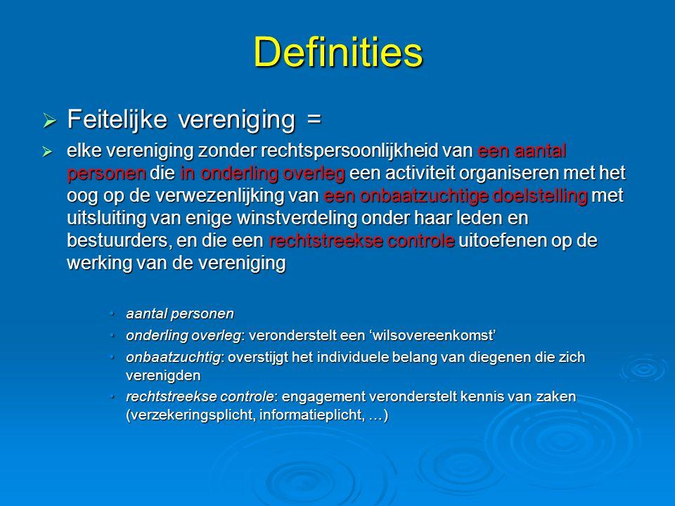 Definities Feitelijke vereniging =