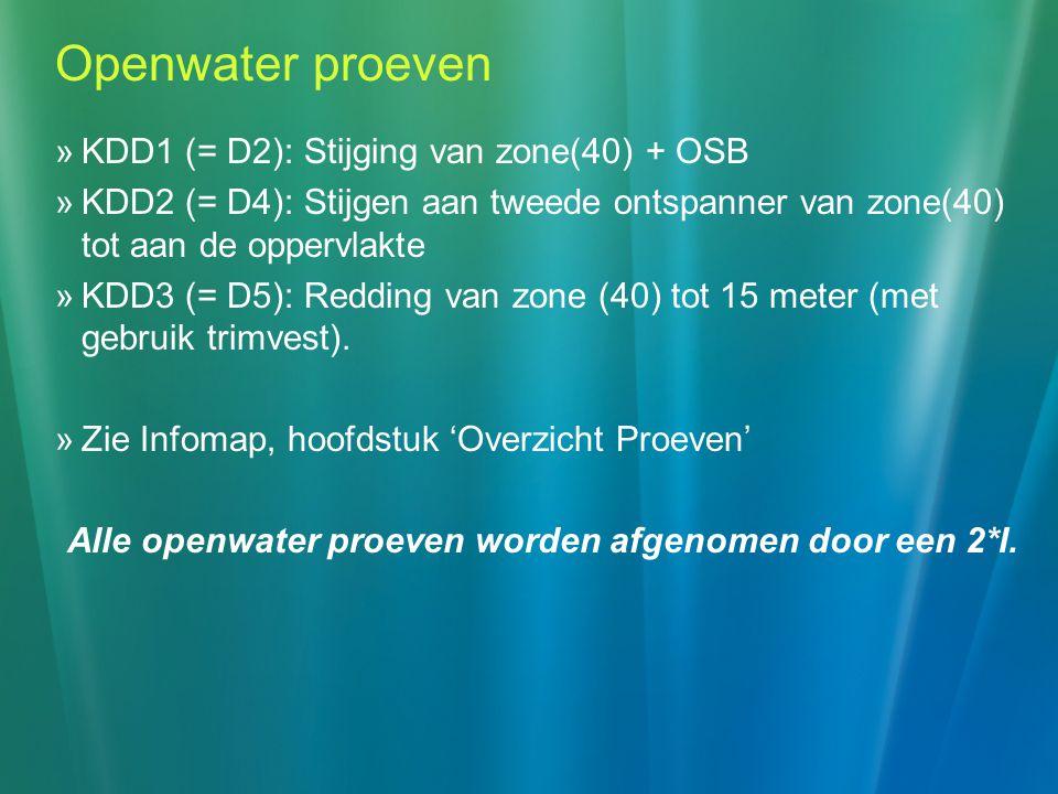 Alle openwater proeven worden afgenomen door een 2*I.