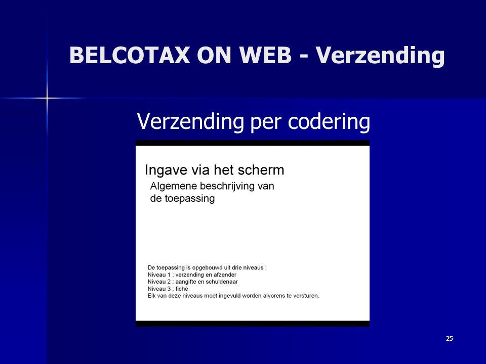 BELCOTAX ON WEB - Verzending