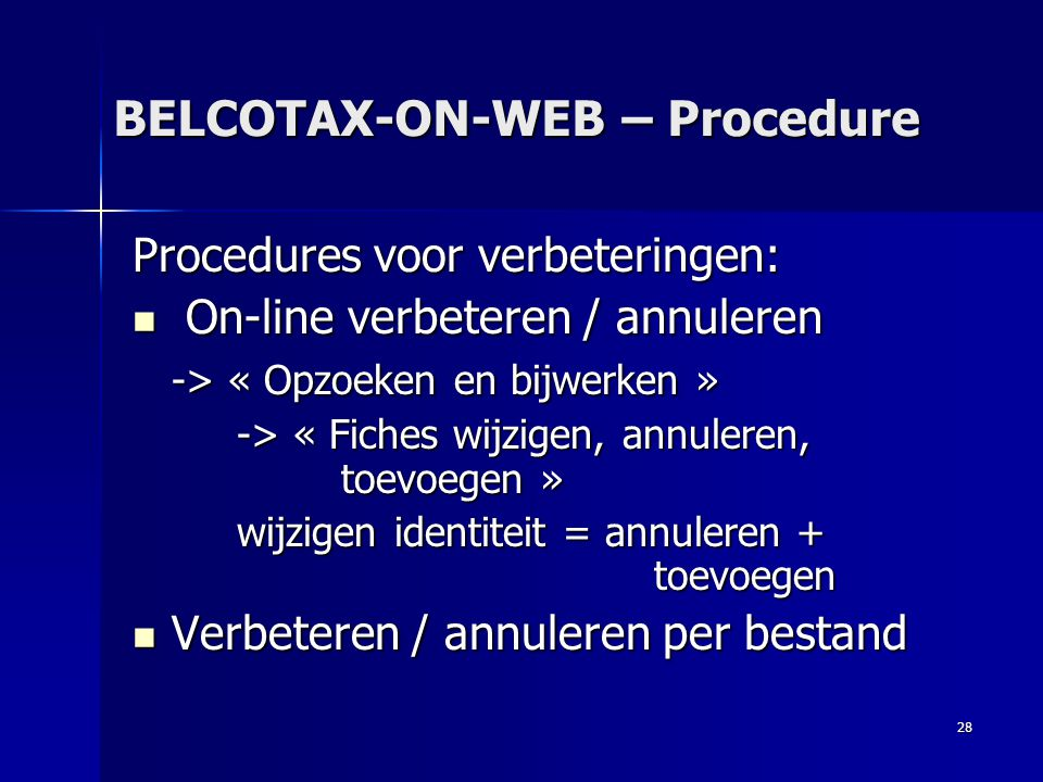 BELCOTAX-ON-WEB – Procedure