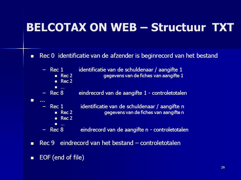 BELCOTAX ON WEB – Structuur TXT