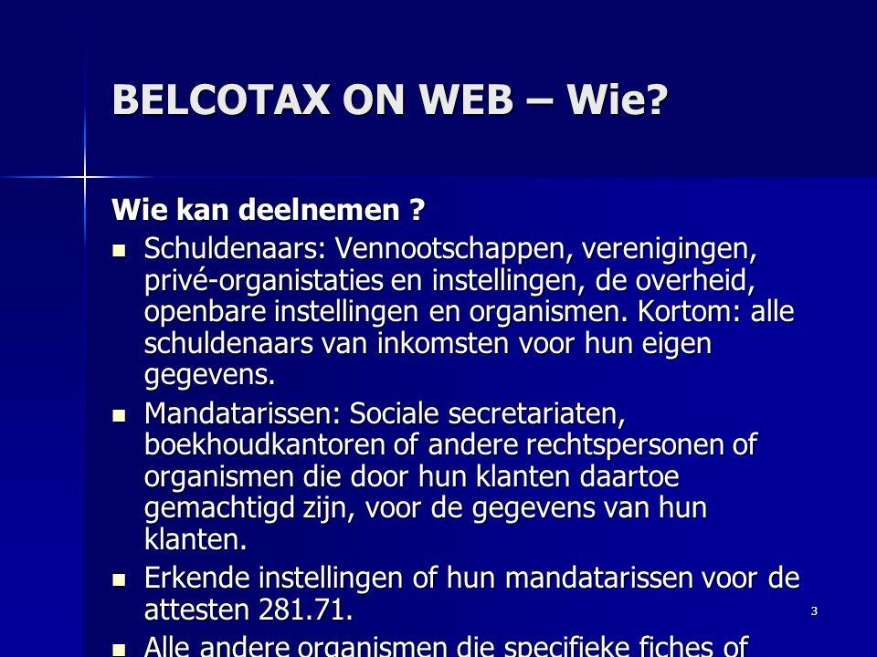 BELCOTAX ON WEB – Wie Wie kan deelnemen