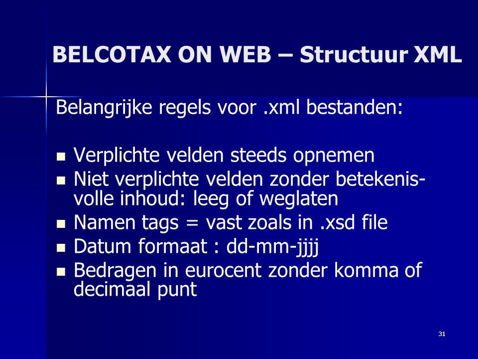 BELCOTAX ON WEB – Structuur XML