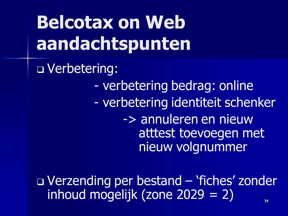 Belcotax on Web aandachtspunten
