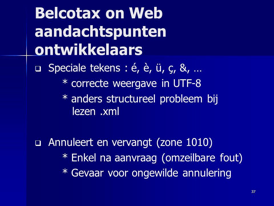 Belcotax on Web aandachtspunten ontwikkelaars