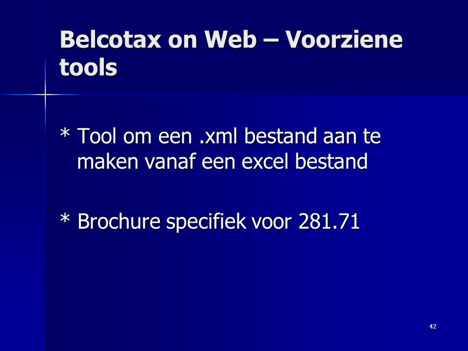 Belcotax on Web – Voorziene tools