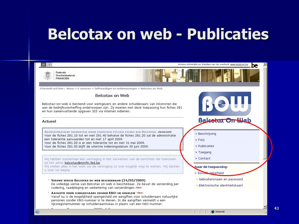 Belcotax on web - Publicaties
