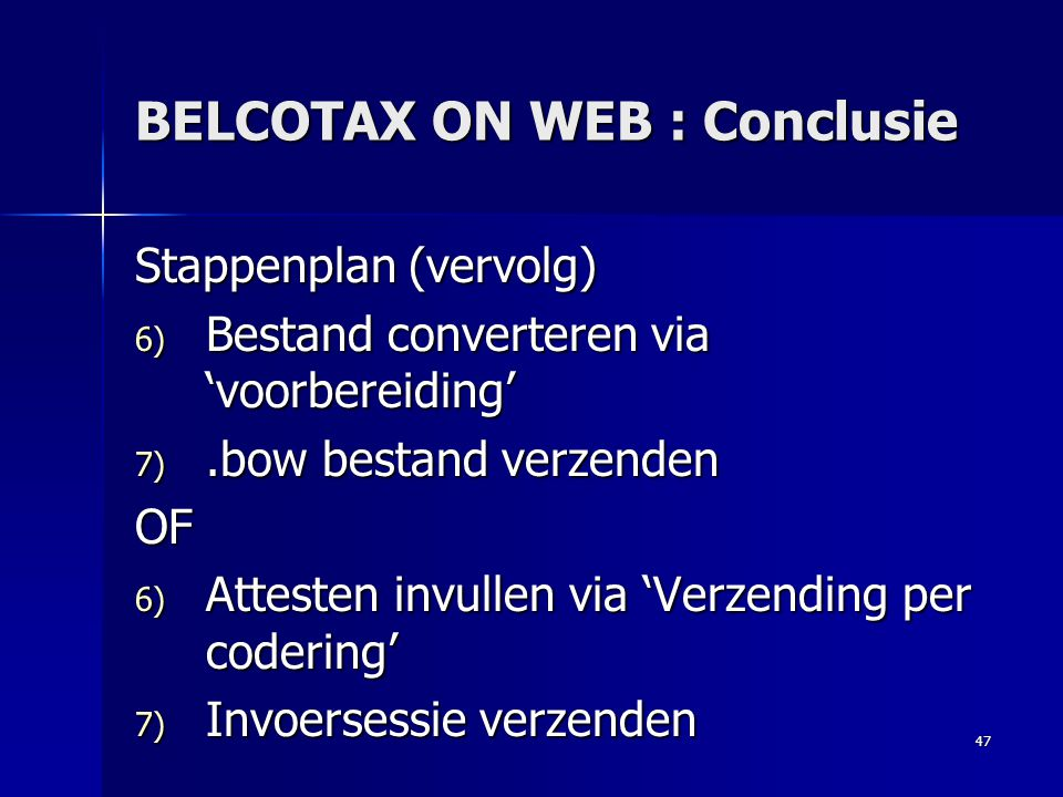 BELCOTAX ON WEB : Conclusie