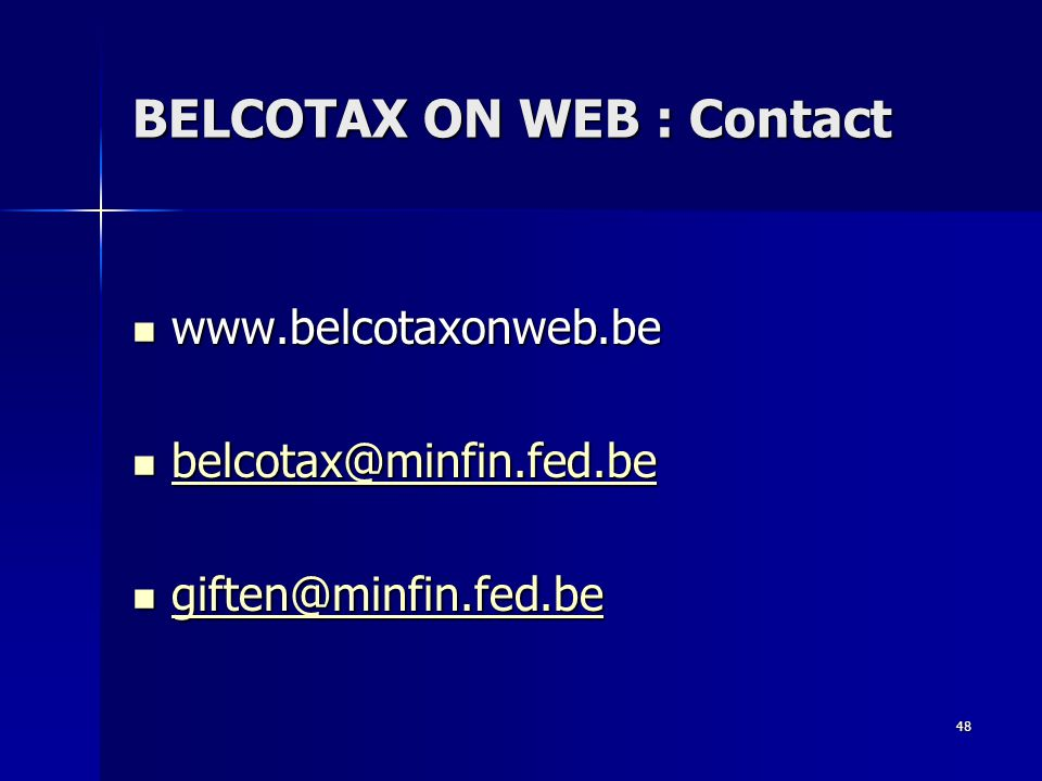 BELCOTAX ON WEB : Contact