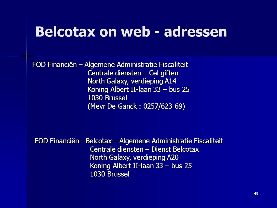 Belcotax on web - adressen
