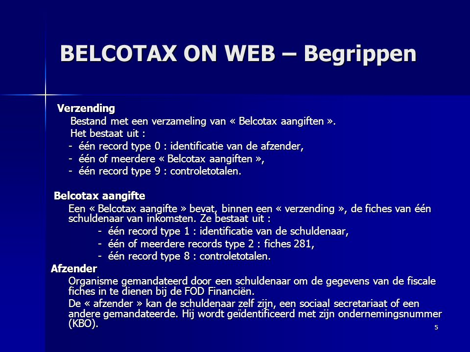 BELCOTAX ON WEB – Begrippen