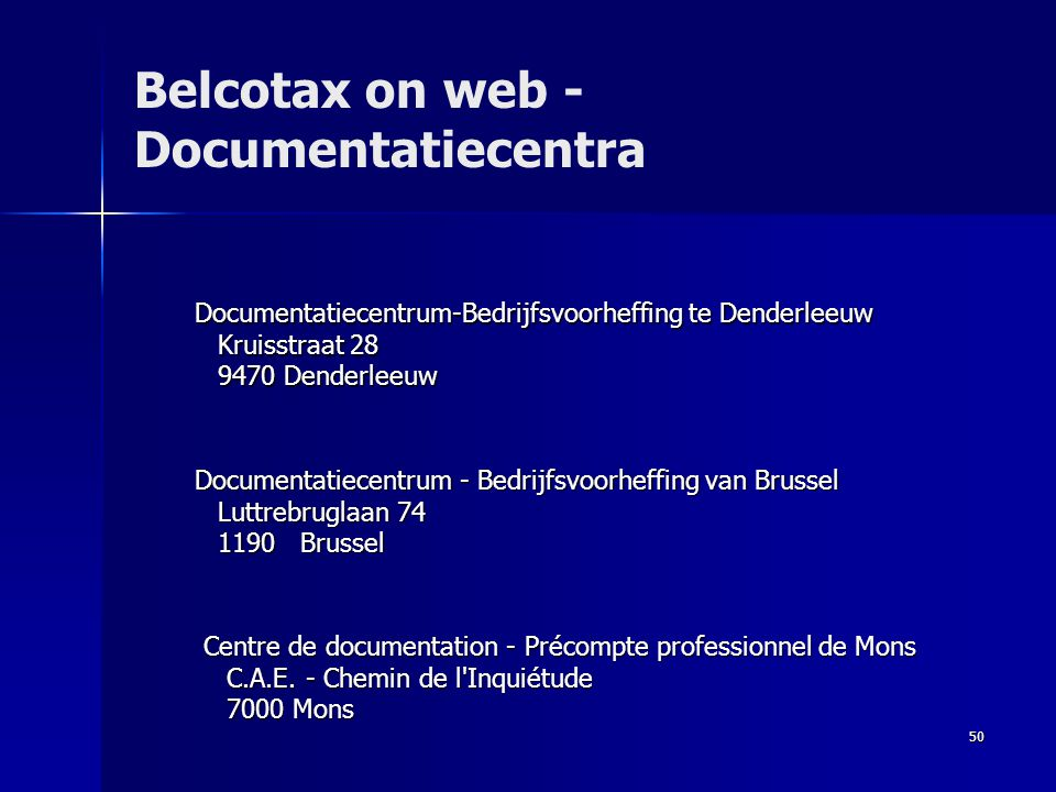Belcotax on web - Documentatiecentra