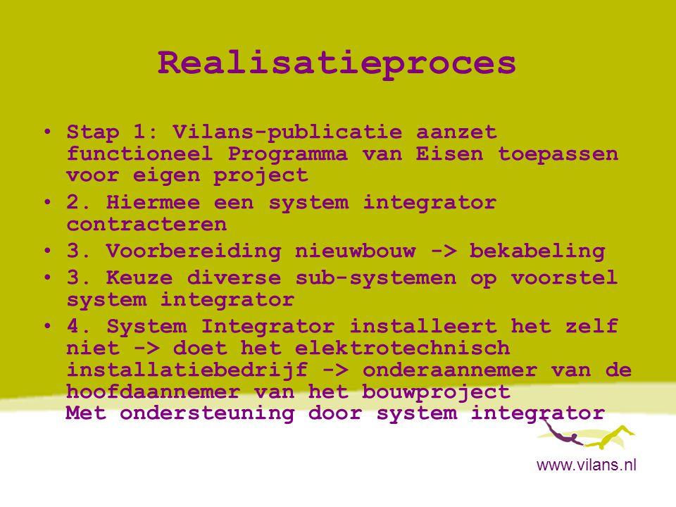 Realisatieproces Stap 1: Vilans-publicatie aanzet functioneel Programma van Eisen toepassen voor eigen project.