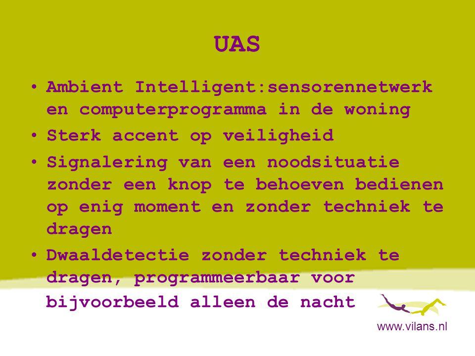 UAS Ambient Intelligent:sensorennetwerk en computerprogramma in de woning. Sterk accent op veiligheid.