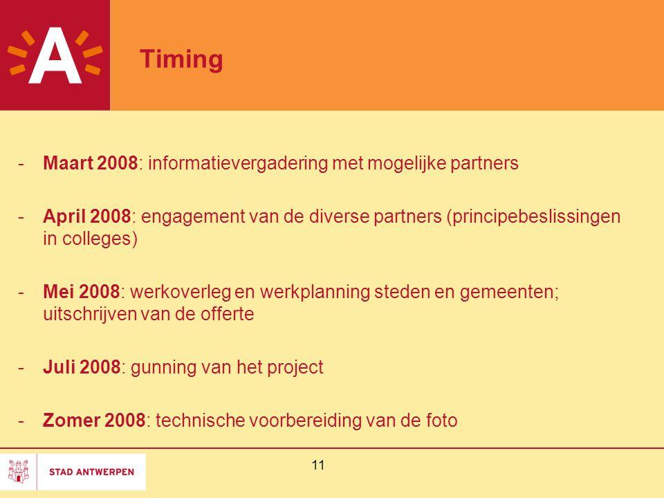 Timing Maart 2008: informatievergadering met mogelijke partners