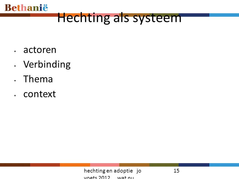 Hechting als systeem actoren Verbinding Thema context