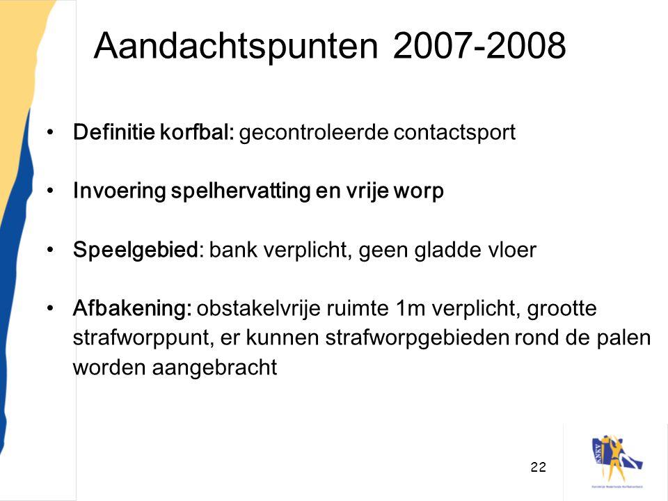 Aandachtspunten 2007-2008 Definitie korfbal: gecontroleerde contactsport. Invoering spelhervatting en vrije worp.