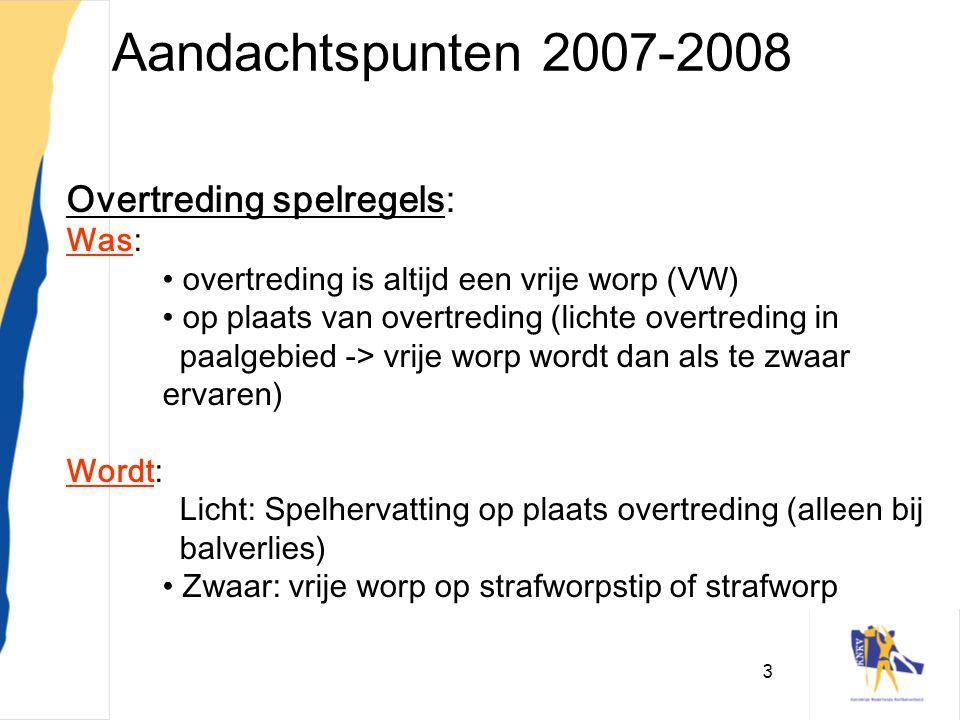 Aandachtspunten 2007-2008 Overtreding spelregels: Was: