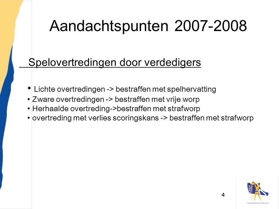 Aandachtspunten 2007-2008 Spelovertredingen door verdedigers