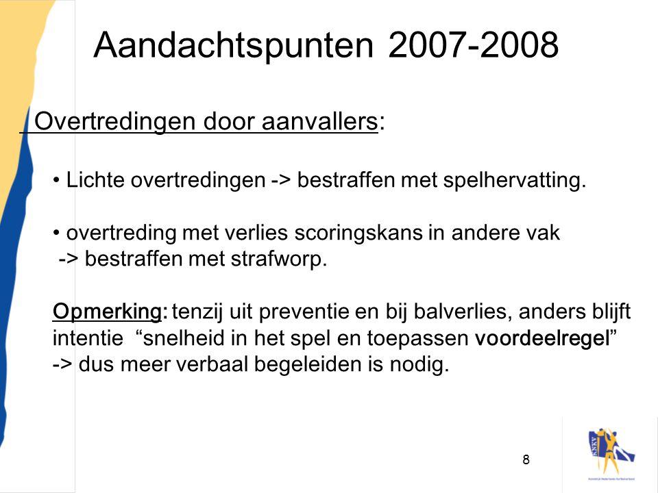 Aandachtspunten 2007-2008 Overtredingen door aanvallers: