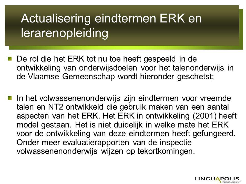 Actualisering eindtermen ERK en lerarenopleiding