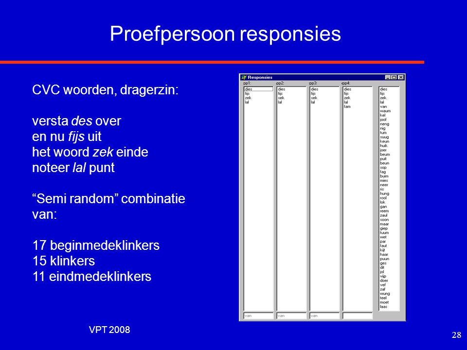 Proefpersoon responsies