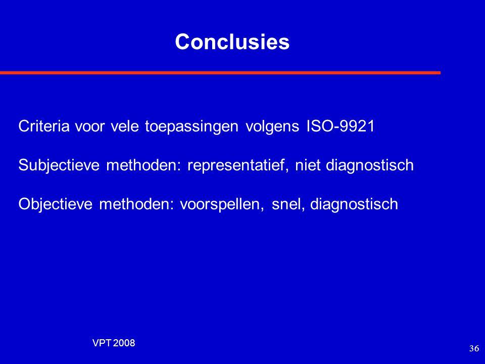 Conclusies Criteria voor vele toepassingen volgens ISO-9921