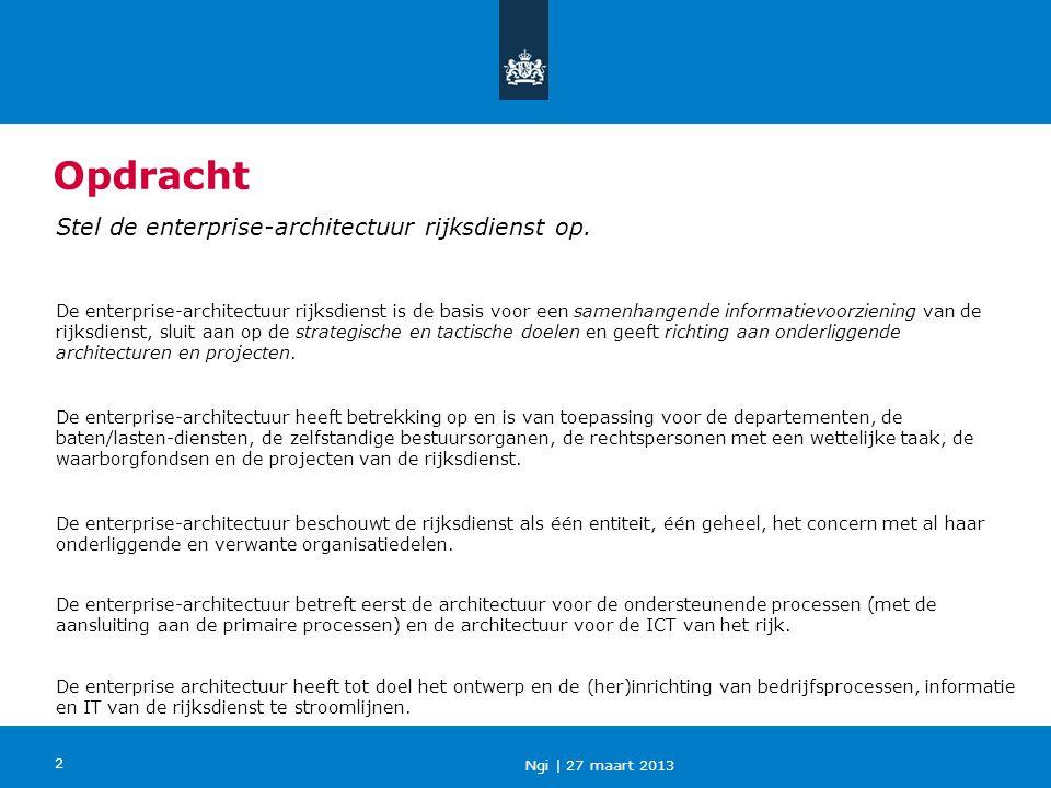 Opdracht Stel de enterprise-architectuur rijksdienst op.