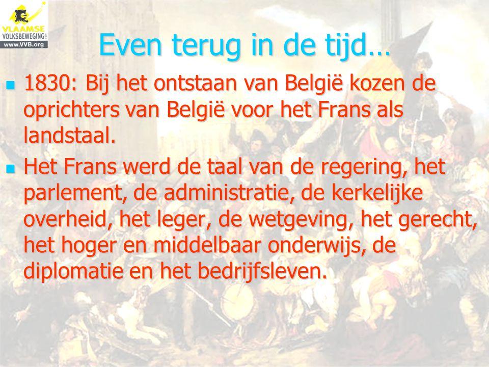 Even terug in de tijd… 1830: Bij het ontstaan van België kozen de oprichters van België voor het Frans als landstaal.
