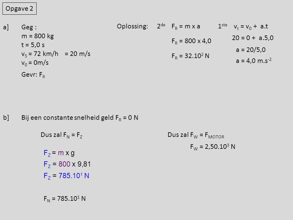 Bij een constante snelheid geld FR = 0 N