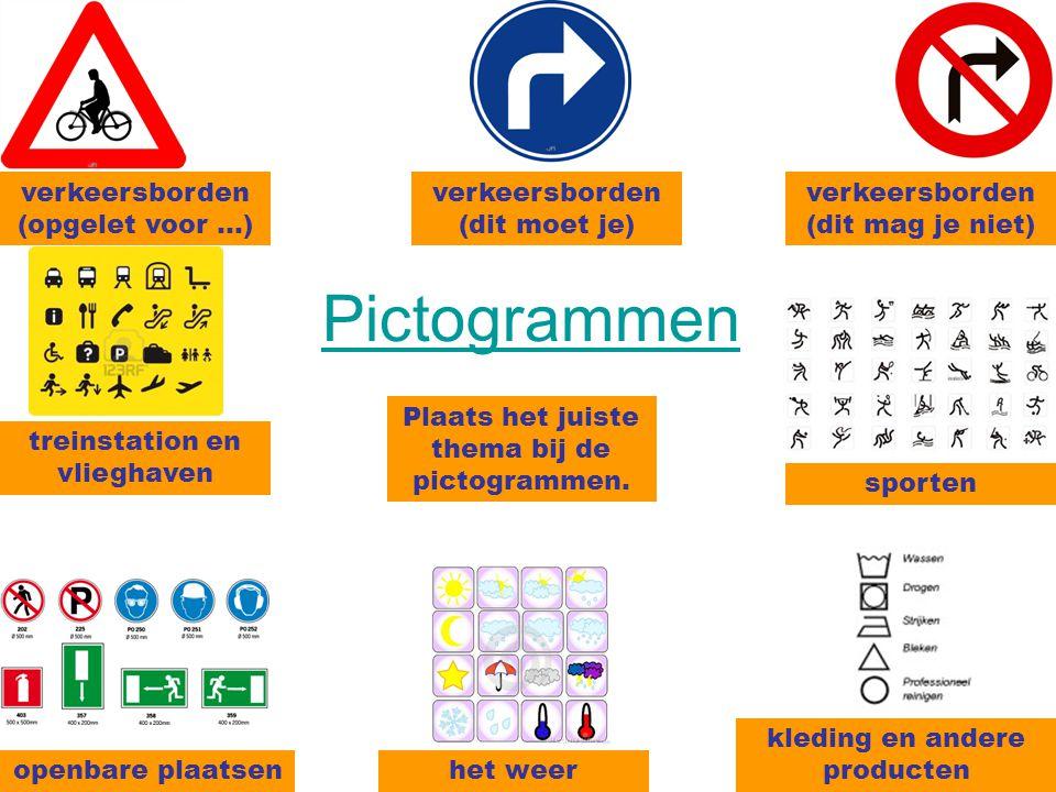 Pictogrammen verkeersborden (opgelet voor …)