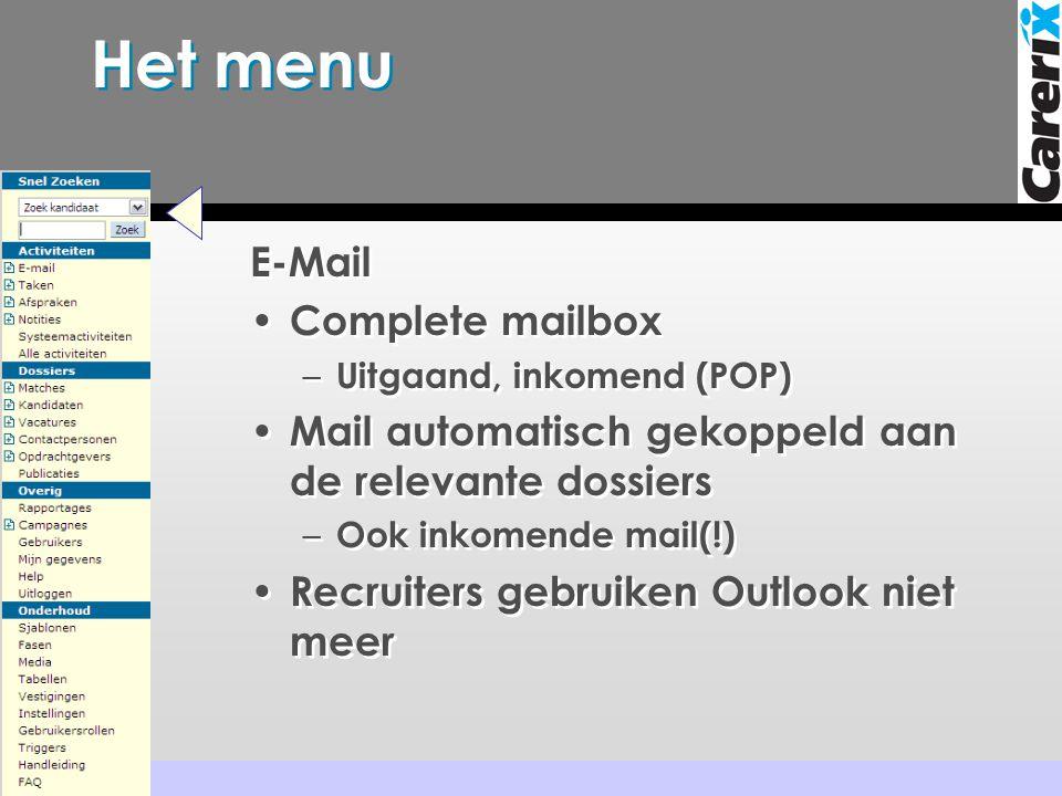 Het menu E-Mail Complete mailbox