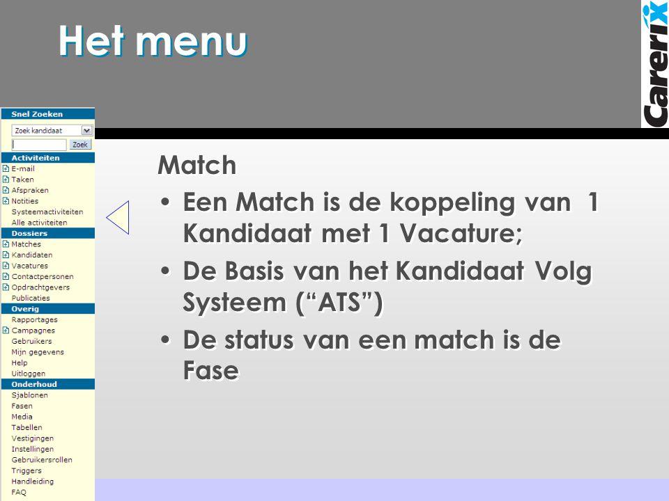 Het menu Match. Een Match is de koppeling van 1 Kandidaat met 1 Vacature; De Basis van het Kandidaat Volg Systeem ( ATS )
