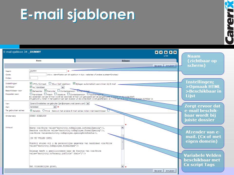 E-mail sjablonen Naam (zichtbaar op scherm)