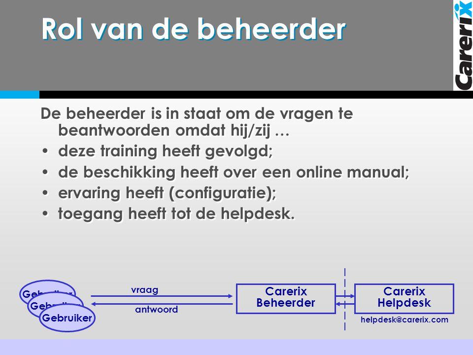 Rol van de beheerder De beheerder is in staat om de vragen te beantwoorden omdat hij/zij … deze training heeft gevolgd;