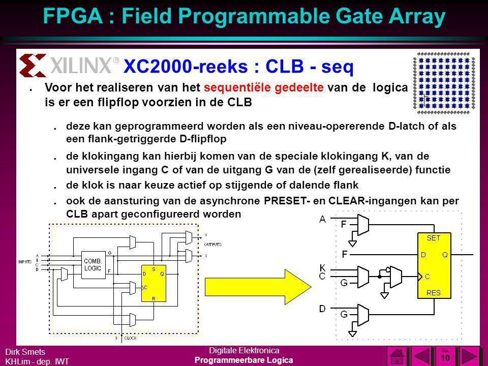 XC2000-reeks : CLB - seq Voor het realiseren van het sequentiële gedeelte van de logica is er een flipflop voorzien in de CLB.