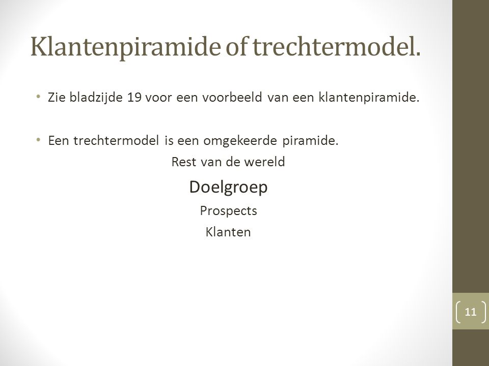 Klantenpiramide of trechtermodel.