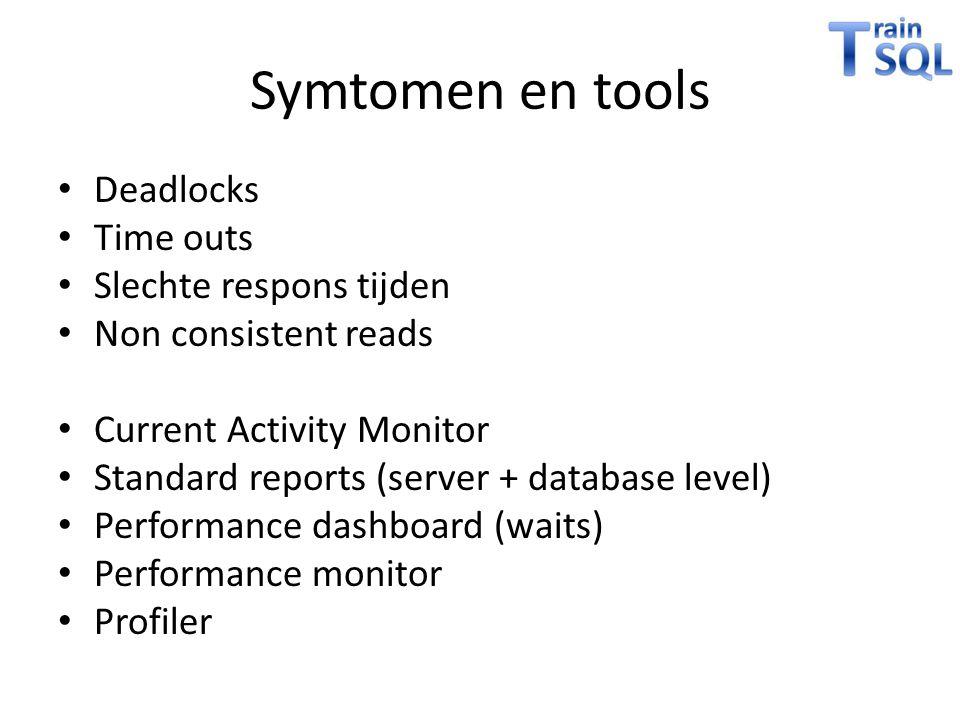 Symtomen en tools Deadlocks Time outs Slechte respons tijden