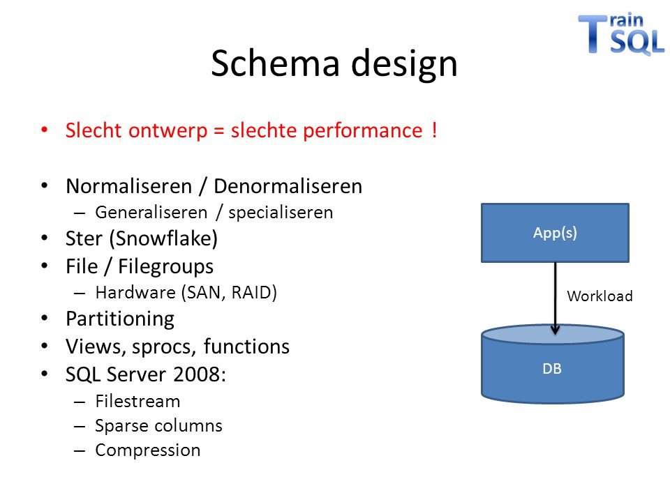 Schema design Slecht ontwerp = slechte performance !